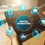 digital marketing and related icons and terms